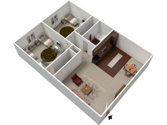 2 Bdrm Floor Plan | Apartments Fresno CA | University Place