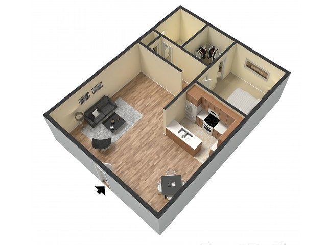 1 Bedroom Floor Plan | Sacramento Apartments | Villa Regia