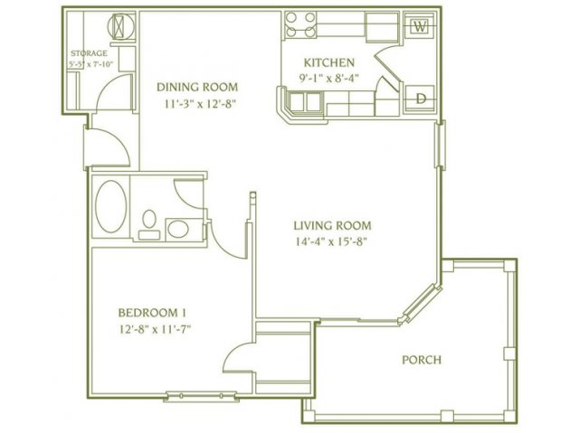 1 bedroom 1 bathroom floor plan of Andover Deluxe apartment with porch