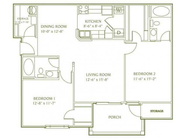 2 bedroom 2 bathroom floor plan of Chelsea apartment with porch