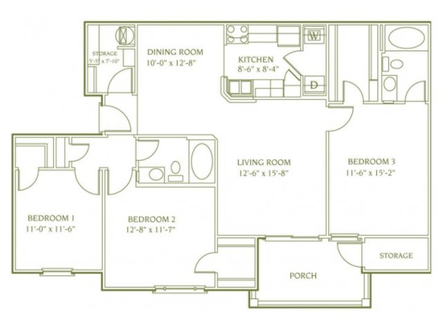 3 bedroom 2 bathroom floor plan of Newbury apartment with porch