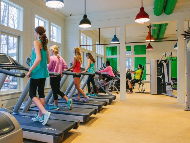 Swallowtail Flats at Old Town: Fitness Center, Large Windows, People using treadmills and weight machines