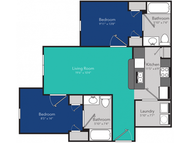 2 Bedroom floorplan, rented by the bedroom