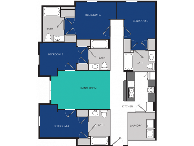 4 bedroom floorplan, rented by the bedroom.