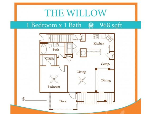 1X1 Willow w/ one car garage