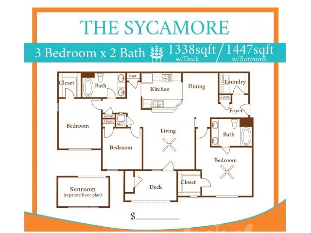 3X2 Sycamore w/ Sun Room