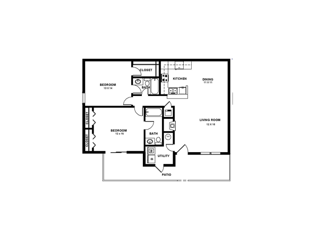 Two bedroom large 1400 sqft