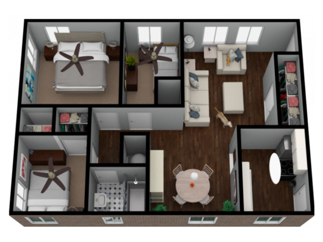 3 Bedroom 1 bath 925 Sqft Apartment Home