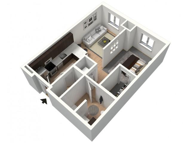 Black Furnished 3D Floor Plan