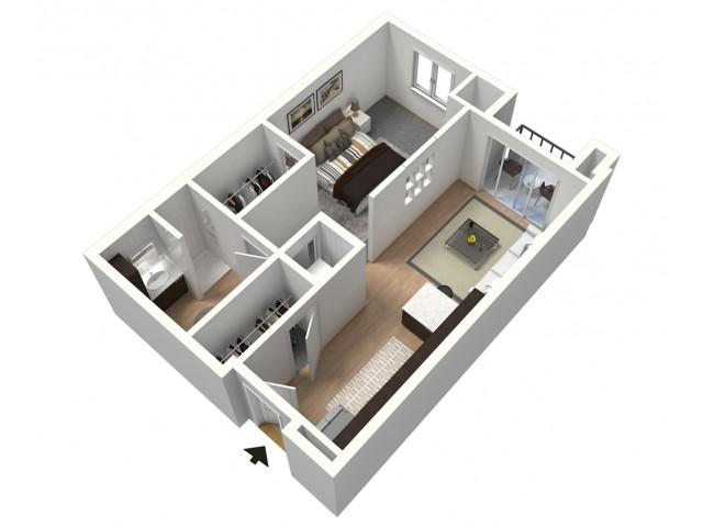 Espresso Furnished 3D Floor Plan