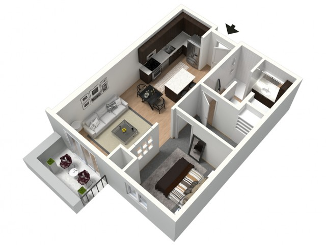 Americano Furnished 3D Floor Plan