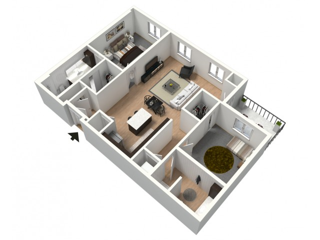 Flat White Furnished 3D Floor Plan