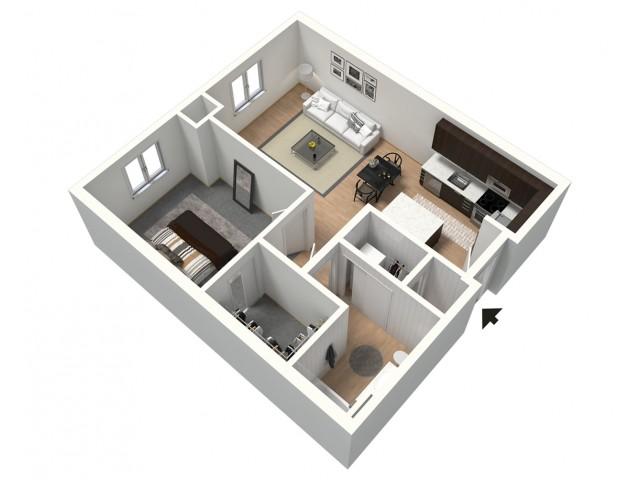 Hammerhead Furnished 3D Floor Plan