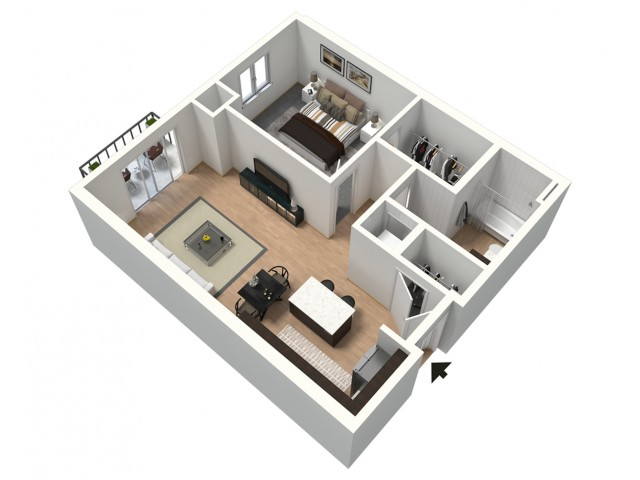 Cappuccino Furnished 3D Floor Plan