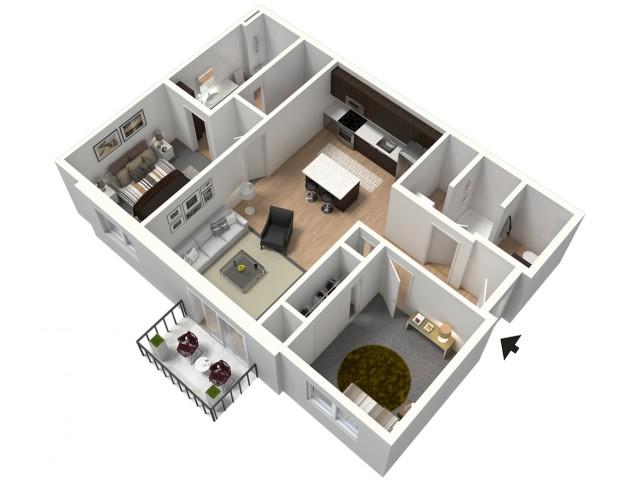 Cafe au Lait Furnished 3D Floor Plan