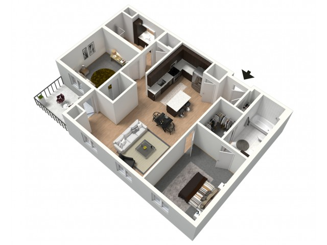 Cafe Con Leche Furnished 3D Floor Plan