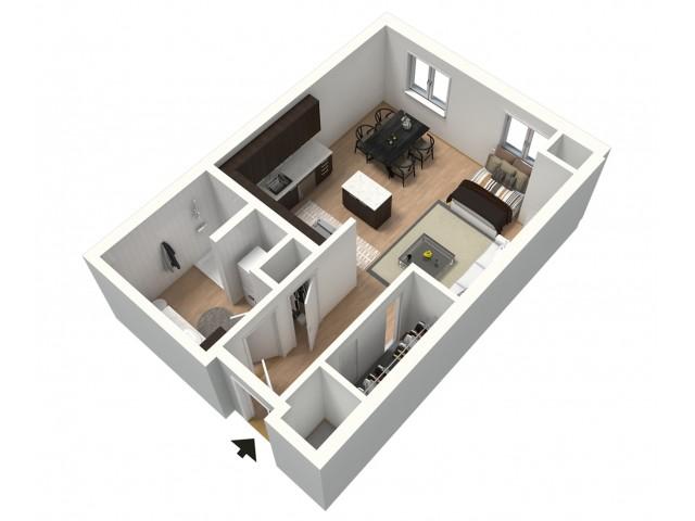 Mocha Furnished 3D Floor Plan
