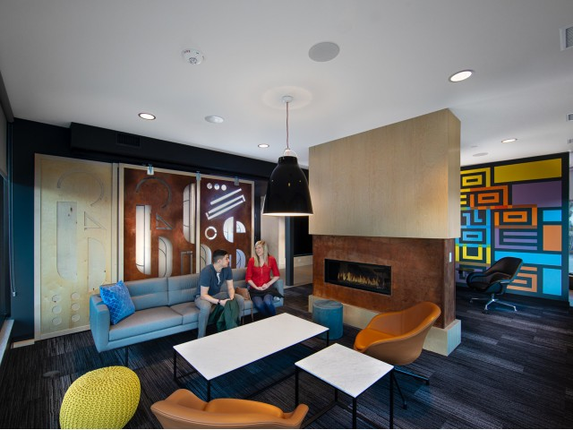 Indoor Fireplace & Resident Lounge