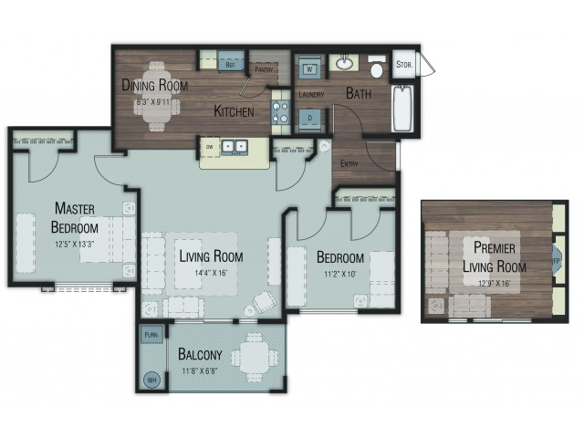2 bedroom 2 bathroom Bellota Premier floor plan