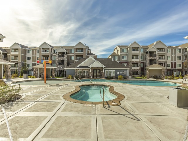 Image of Year Round Oversized Hot Tub for Herriman Towne Center Apartments