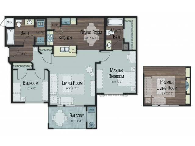 2 bedroom 2 bathroom Balsam Select floor plan
