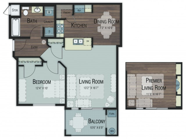 1 bedroom 1 bathroom Ash Select floor plan