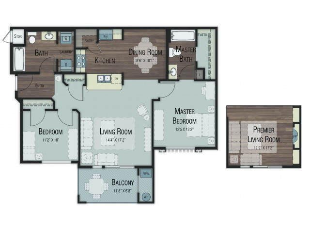 2 bedroom 2 bathroom Balsam Accessible Select floor plan
