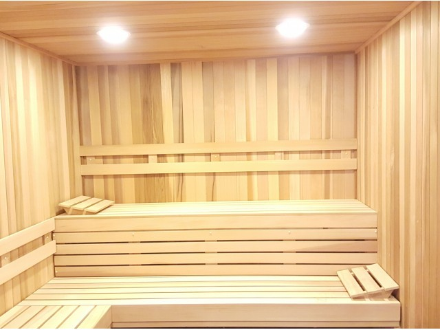 Sauna with 3 wall length benches