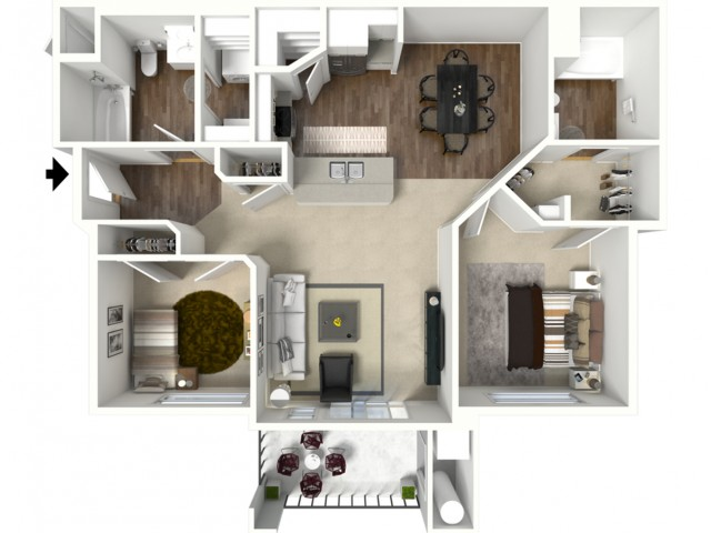 2 bed 2 bath Bryce floor plan