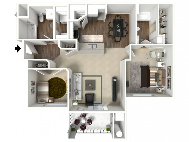 2 bed 2 bath Barbaroux floor plan
