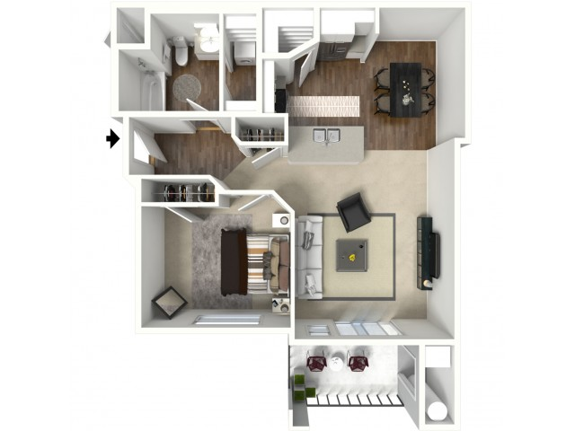 1 bedroom 1 bathroom Altair Premier floor plan