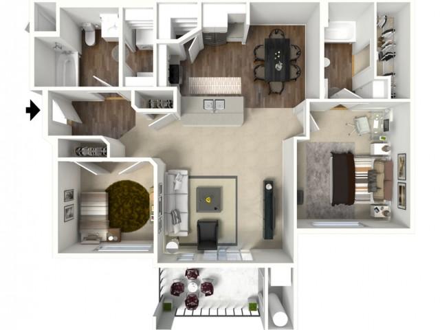 2 bedroom 2 bathroom Brigadier floor plan