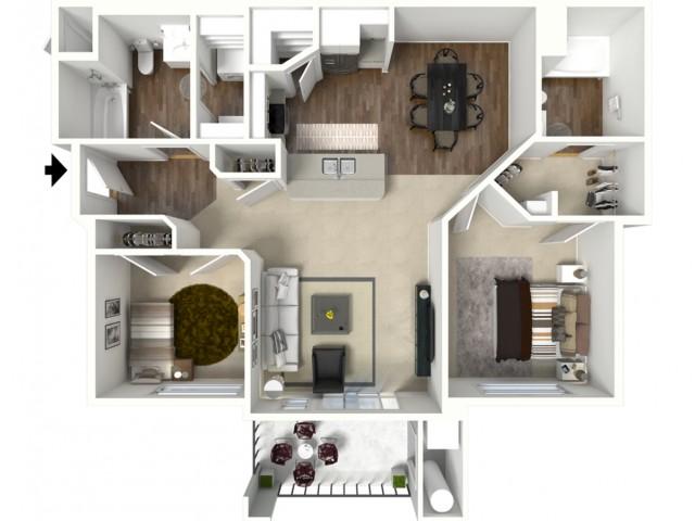 2 bedroom 2 bathroom Barbaro floor plan