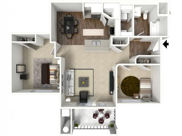 2 bedroom 1 bathroom Bela Premier floor plan