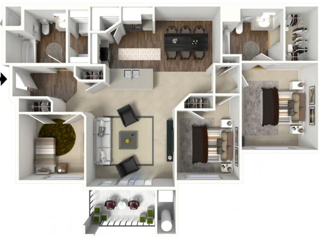 3 bedroom 2 bathroom Citation floor plan