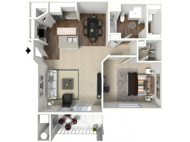 1 bedroom 1 bathroom Ashby Premier floor plan
