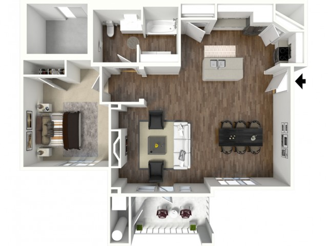 1 bedroom 1 bathroom Adington Select ADA 2 floor plan