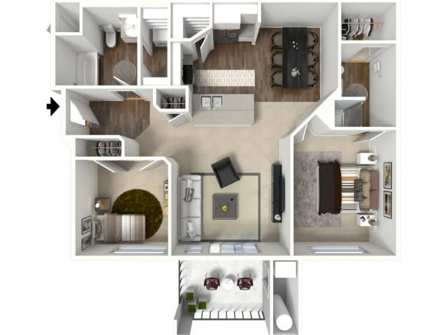 2 bedroom 2 bathroom Belfast Premier 2 floor plan