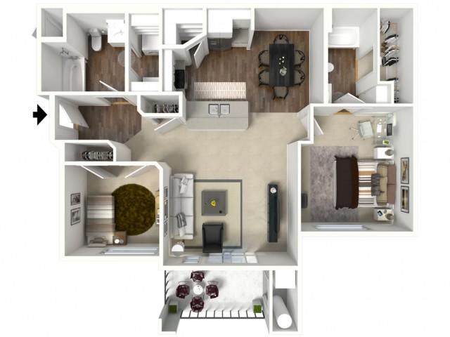 2 bedroom 2 bathroom Bristol Premier 2 floor plan
