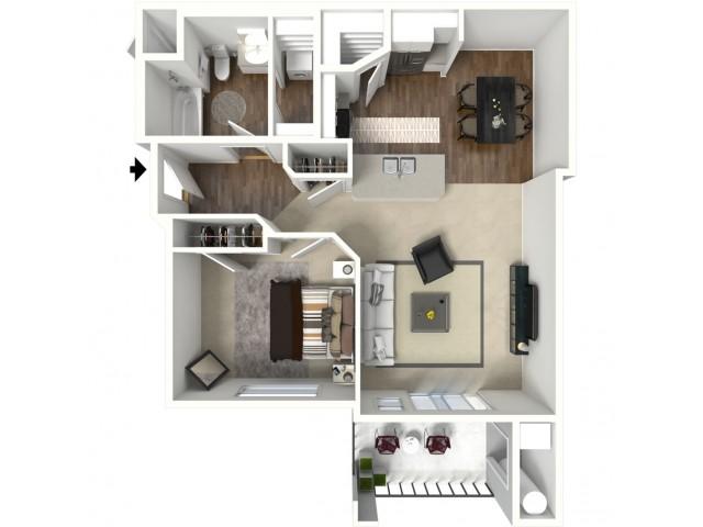 1 bedroom 1 bathroom Albany Floor Plan