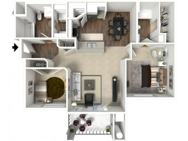 2 bedroom 2 bathroom Bridgeport Premier floor plan
