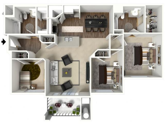 3 bedroom 2 bathroom Charleston Accessible floor plan