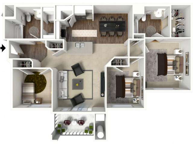 3 bedroom 2 bathroom Charleston Premier floor plan