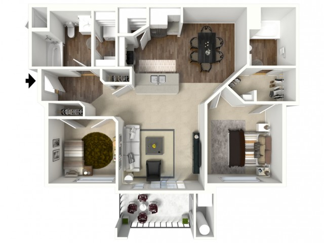 2 bedroom 2 bathroom Barbaro Premier floor plan