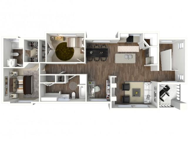 2 Bed 2 Bath Bloomington Floor Plan