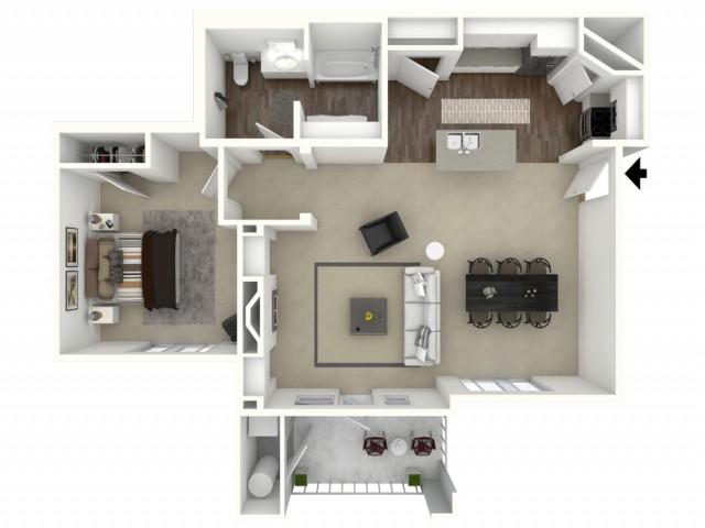 1 bedroom 1 bathroom Arlington Accessible Floor Plan