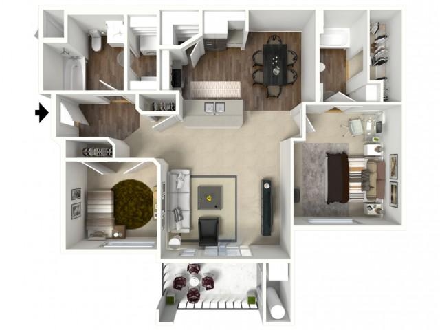 2 bedroom 2 bathroom Bridgeport Select Accessible floor plan