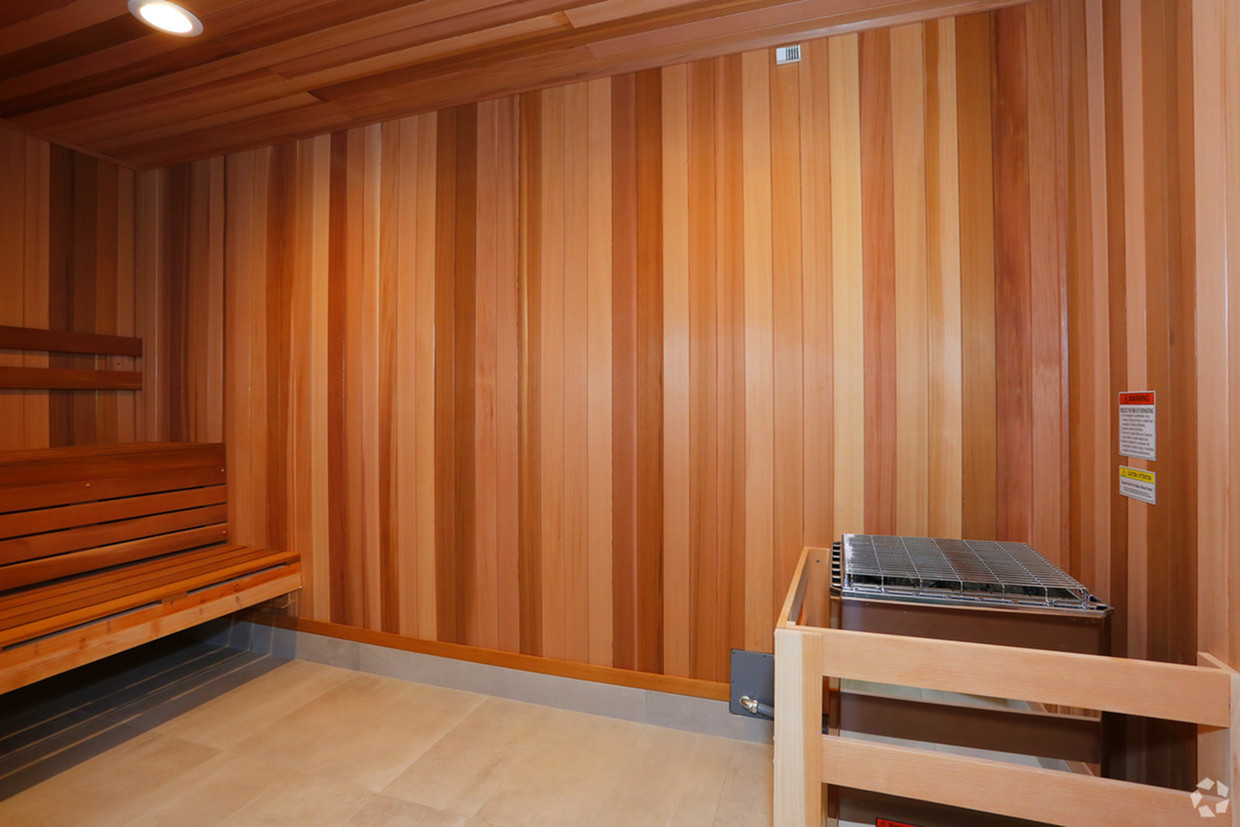 Sauna with 2 wall length benches