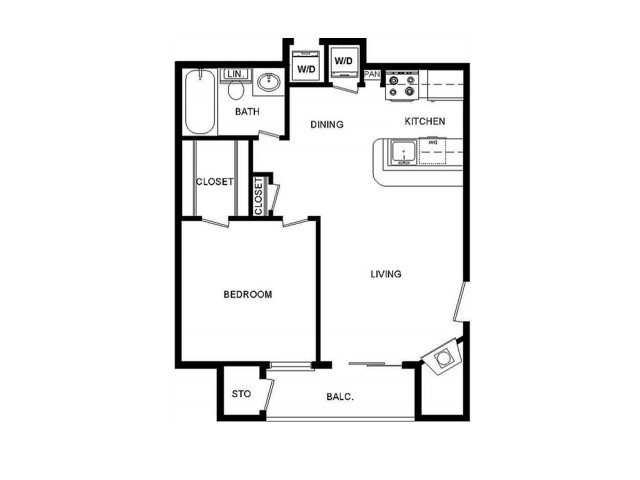 B Floor Plan 531 sq ft