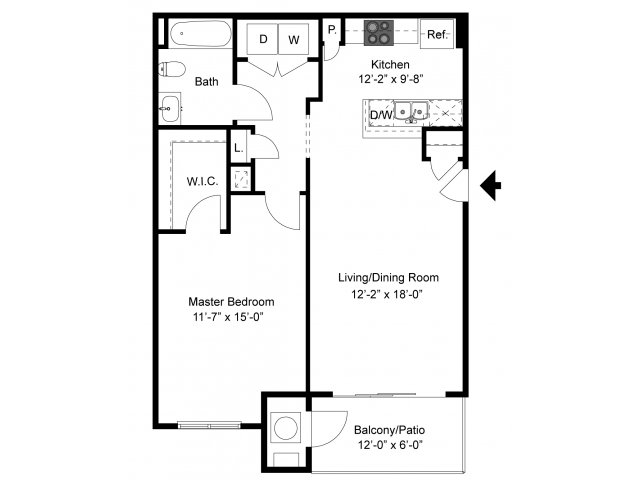 Layout of The Schoeneck, a 1 Bedroom Floor Plan at Palmer View Apartments